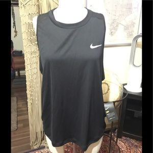 Nike Running DryFit Black Tank mesh back Sz XL NWT